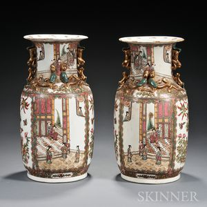 Pair of Rose Medallion Rouleau Vases