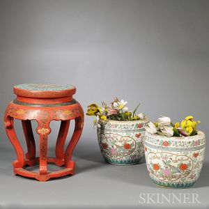 Red Lacquer and Cloisonne Stand and Pair of Planters