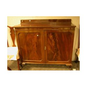 Mahogany and Mahogany Veneer Two-Door Side Cabinet.