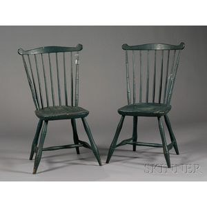 Pair of Green-painted Bamboo-turned Windsor Fanback Side Chairs