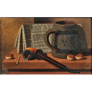 John Frederick Peto (American, 1854-1907)      Pipe, Newspaper, Mug, and Biscuits