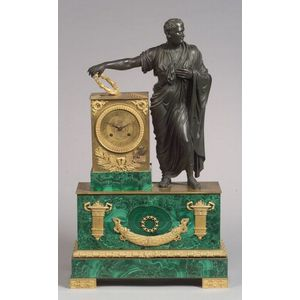 French Second Empire Gilt and Patinated Bronze and Malachite Mounted Mantel Clock