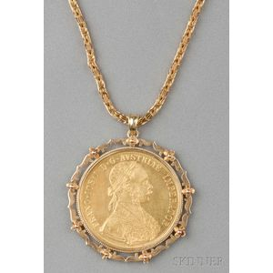 1915 Austria Hungary Four Ducat Gold Coin-mounted Pendant