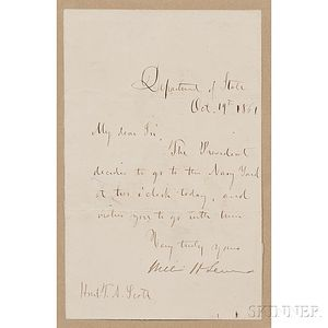Seward, William (1801-1872) Secretary Note Signed, Department of State, 19 October 1861.