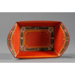 Paint-Decorated Red Tinware Bread Basket