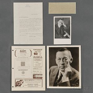 Rachmaninoff, Sergei (1873-1943) Four Signed Items and a Photograph.