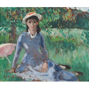 François Gall (French, 1912-1987)      Girl in Blue Seated on the Grass