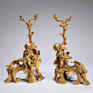 Pair of Louis XV-style Bronze Chenets
