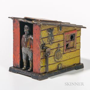 "Cast Iron Mechanical ""Cabin"" Bank"