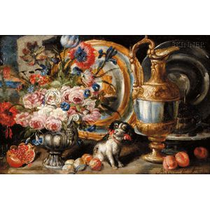 Manner of Abraham Brueghel (Flemish, 1631-1690)      Ornate Still Life with Lap Dog